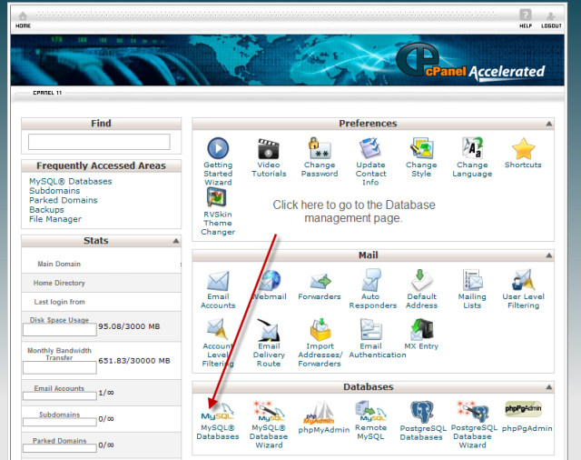 Cpanel Dataabase