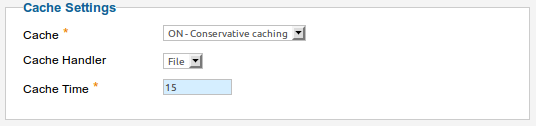 Joomla Cache Settings