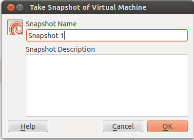 Create virtualbox snapshot
